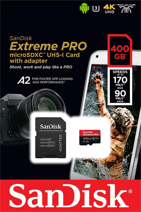 Карта памяти SanDisk  400GB microSDXC C10 UHS-I U3 A2 R170/W90MB/s Extreme Pro V30 + SD