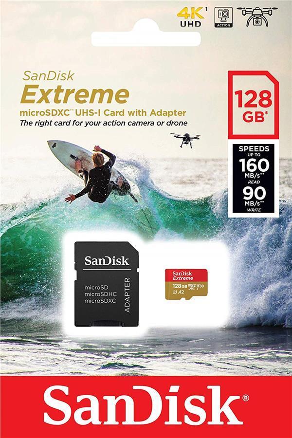 Карта памяти SanDisk 128GB microSDXC C10 UHS-I U3 A2 R160/W90MB/s Extreme V30 + SD