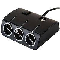 🔝 Тройник в прикуриватель автомобиля 12V разветвитель автомобильный с USB (ART 5035) с доставкой | 🎁%🚚