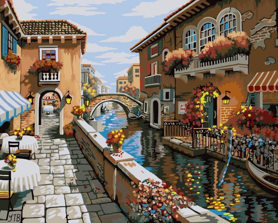 "Картина по номерам. Brushme "" Дворик в Венеции "" GX8518"