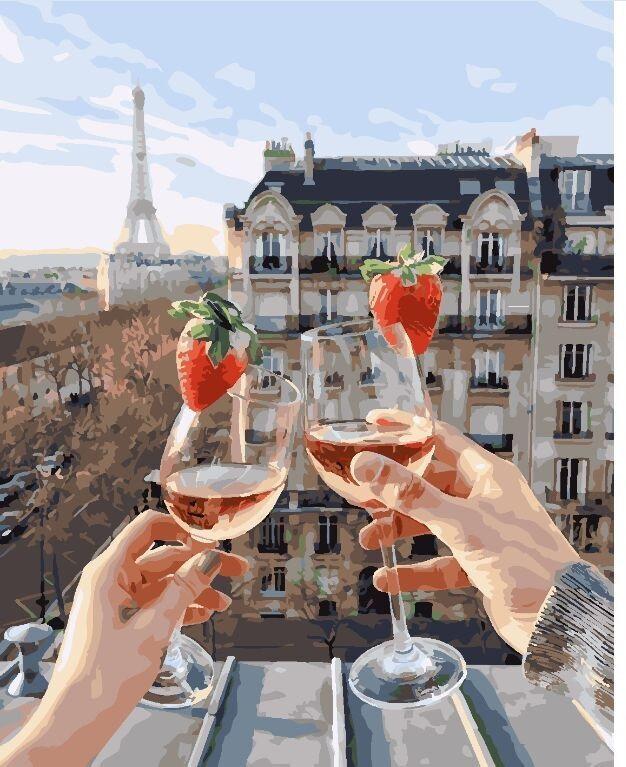 "Картина по номерам. Brushme ""Бокалы Парижа"" GX24907"