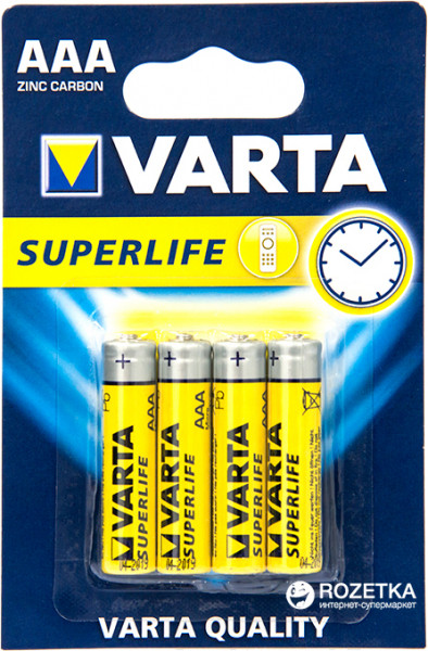 Батарейка VARTA SUPERLIFE AAA BLI 4 ZINC-CARBON R3 (2003)