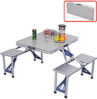 Алюминиевый стол для пикника раскладной со 4 стульями Folding Table 85х67х67 см (серебряный)