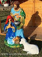 Різдвяний вертеп (83см) і ягня лежачий. Ціна за комплект, фото 1