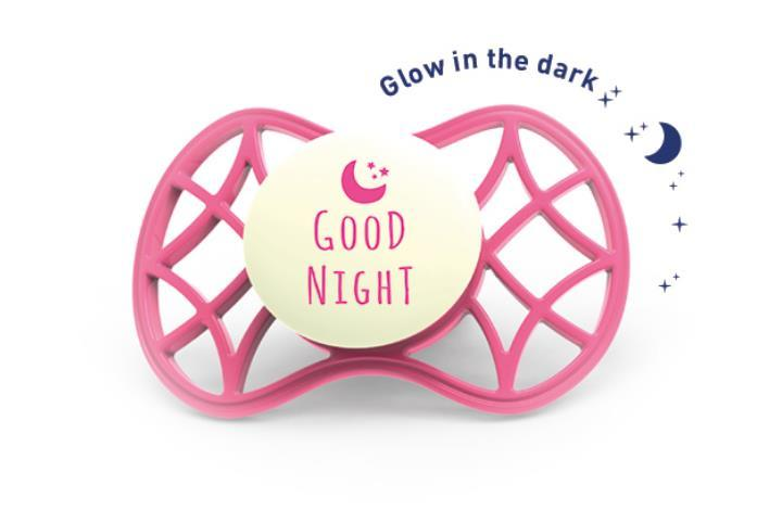 """Пустышка ортодонтическая Nuvita NV7084 Air55 Cool 6m+ """"GOOD NIGHT"""" светящаяся в темноте цвет марсала"""