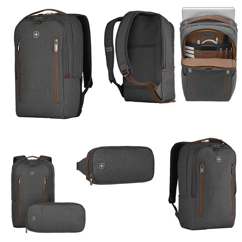 """Рюкзак + сумка, Wenger, City Upgrade 16"""", серый"""