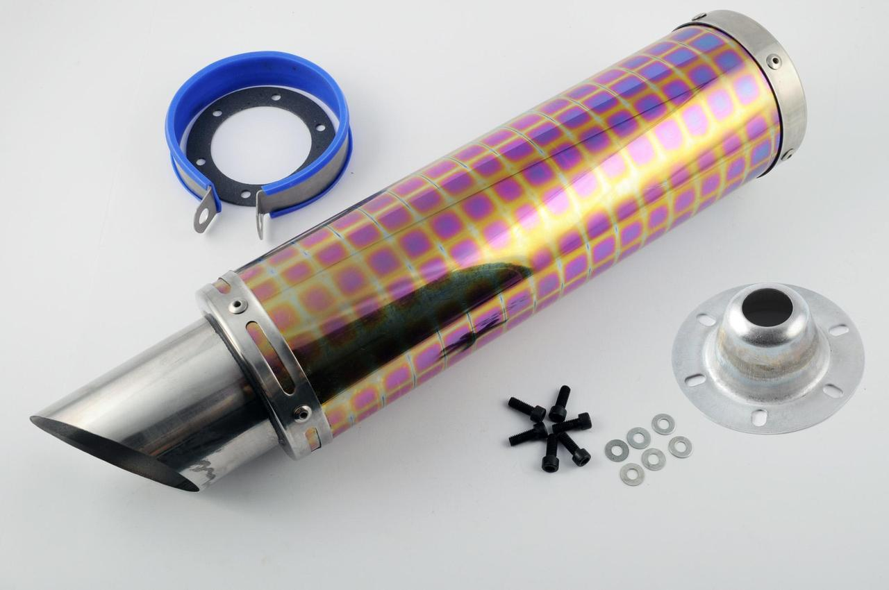 Глушитель (Выхлопная труба) (тюнинг) 420*100мм, креп. Ø78мм (нержавейка, квадраты, mod:20)