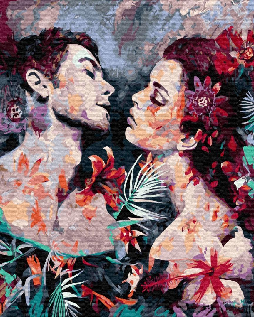 Картина по номерам Пара в цветах 4024 40*50