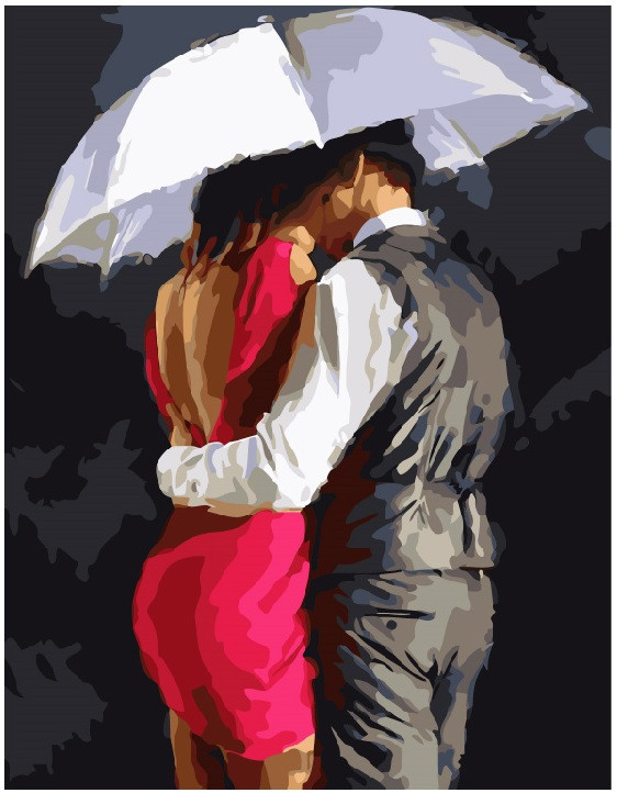 Картина по номерам Пара под зонтом 8040 40*50