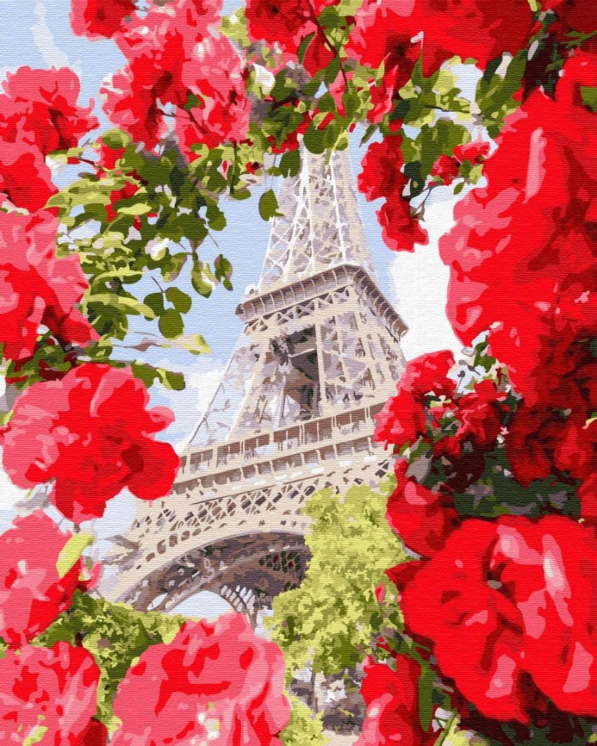 Картина по номерам Париж в цветах 32312 40*50