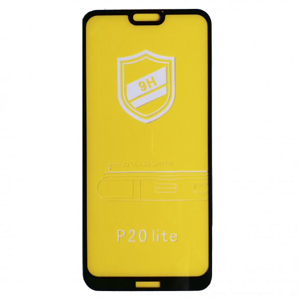 Защитное стекло 9H для Huawei P20 Lite черное тех. пак.