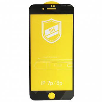 Защитное стекло 9H для iPhone 7 Plus/8 Plus черное тех. пак.