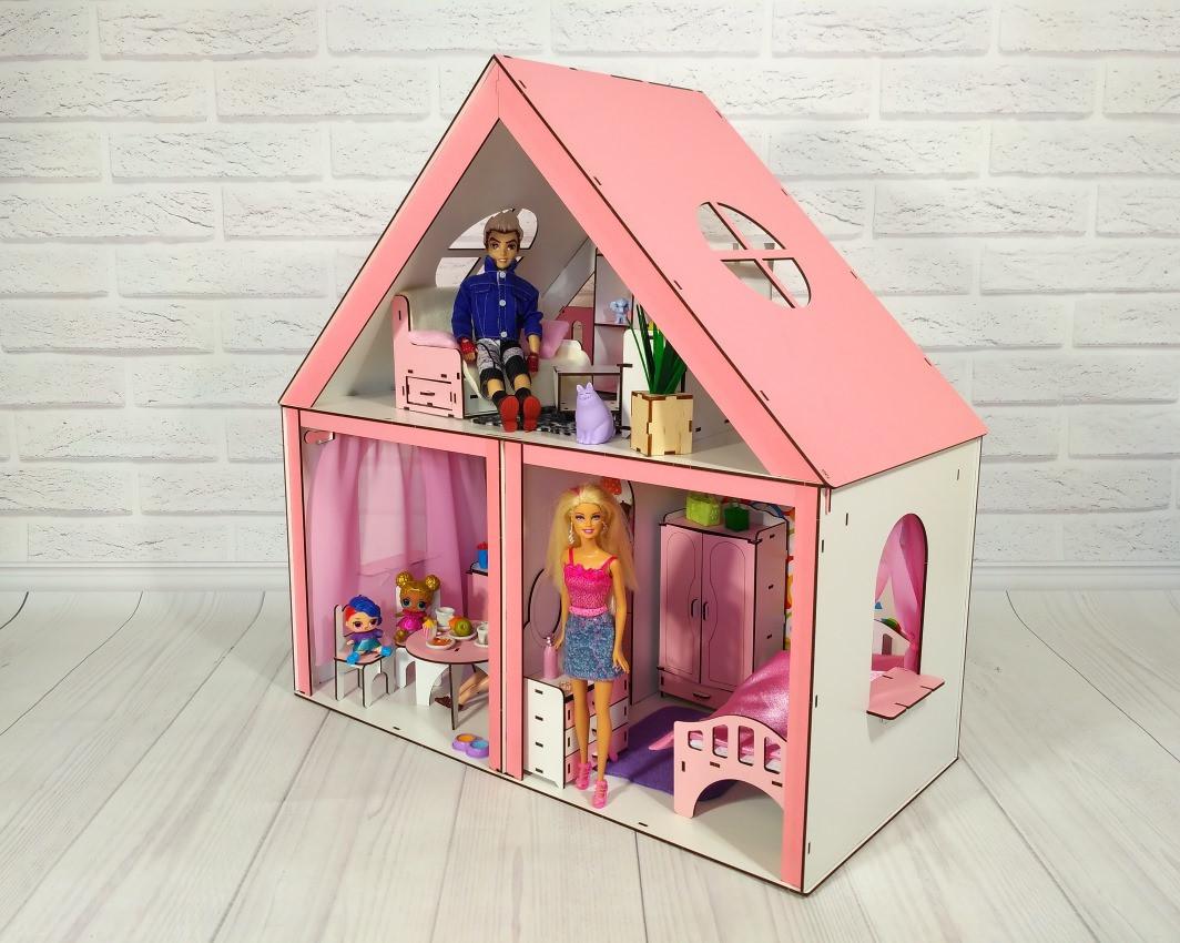 Домики для больших куколДомик «Особняк Барби» + обои + шторки + мебель + текстиль высота этажа - 33 см