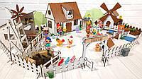 Крашеный кукольный домик для LOL Сельский Домик с Фермой, Мельницей, мебелью и светом