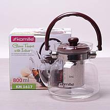 Заварочный чайник с ситом на 800 мл Kamille KM-1617, фото 3