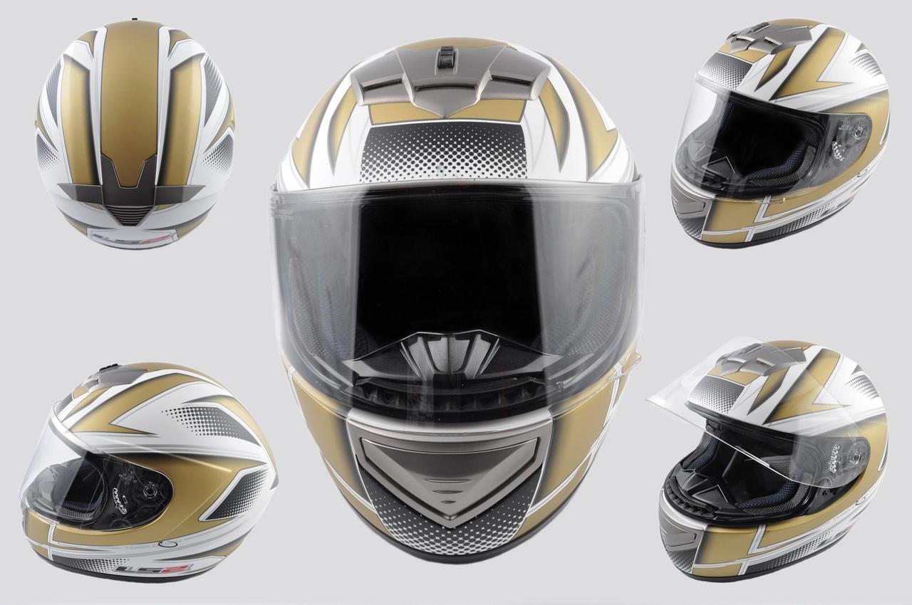 Мотошлем, Мотоциклетный шлем Интеграл (full-face) (mod:368) (Размер:L, бело-золотой) LS-2
