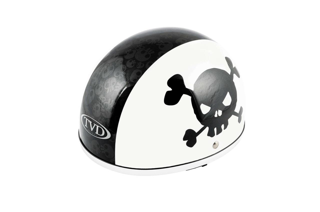 Мотошлем, Мотоциклетный шлем -каска (mod:Skull) (Размер:L, бело-черный) TVD