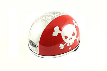 Мотошлем, Мотоциклетный шлем -каска (mod:Skull) (Размер:L, красно-белый) TVD