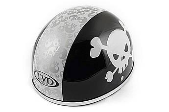 Мотошлем, Мотоциклетный шлем -каска (mod:Skull) (Размер:L, черно-белый) TVD