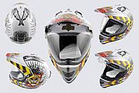 Мотошлем, Мотоциклетный шлем  Кроссовый - Эндуро - АTV (mod:MX433) (с визором, Размер:ХL, белый, JUSTICE) LS-2
