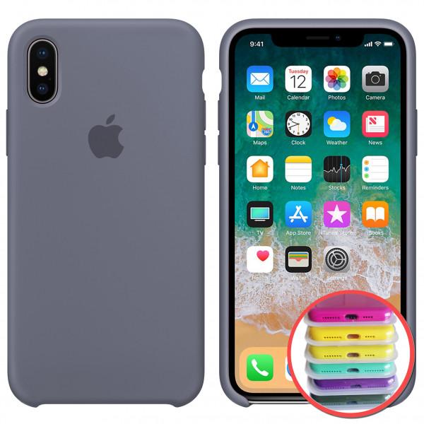 Силиконовый чехол Silicone Case Full для iPhone XR (46) lavander gray