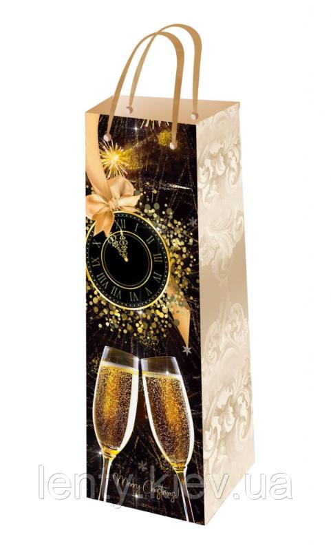 Новогодний пакет ламинированный для бутылки 26х16 (П-6 - 013)