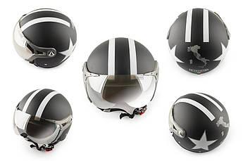Мотошлем, Мотоциклетный шлем  Открытый (jet) (с очками и козырьком, Размер:XL, черный) BEON