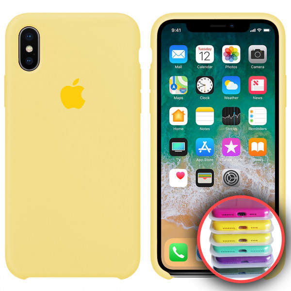 Силиконовый чехол Silicone Case Full для iPhone XS Max (51) mellow yellow