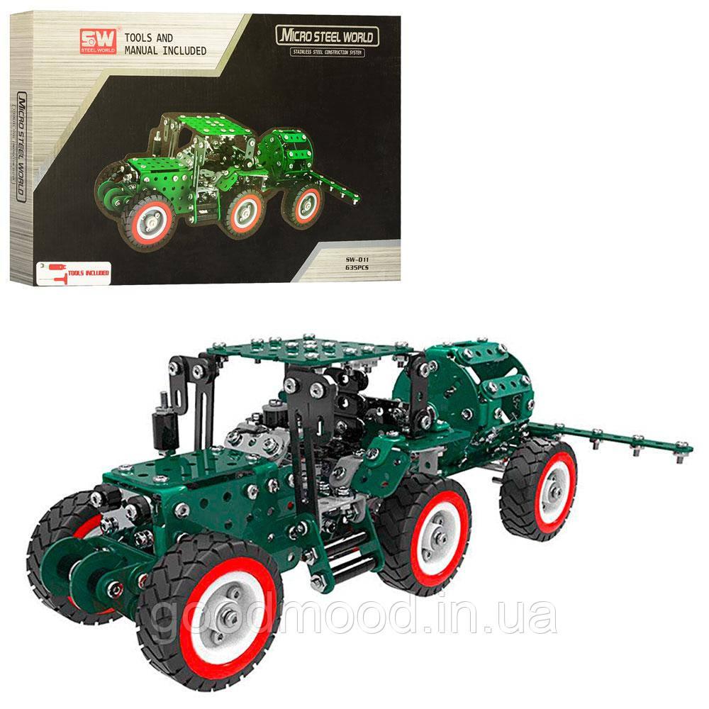 Конструктор SW-011 мет., трактор з причепом, інструменти, 635 дет., кор., 36,5-23,5-4 см.