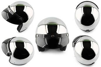 Мотошлем, Мотоциклетный шлем  Открытый (jet) (Размер:L, хром) STAR