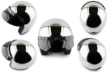 Мотошлем, Мотоциклетный шлем  Открытый (jet) (Размер:XL, хром) STAR