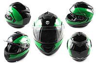 Мотошлем, Мотоциклетный шлем  трансформер (mod:FL258) (Размер:L, черно-зеленый) HELMO