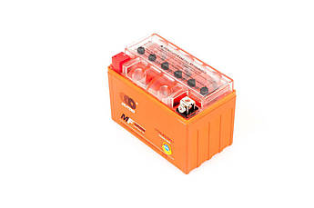 Мото аккумулятор АКБ (Аккумулятор на скутер, мотоцикл, мопед) 12В (V) 9А гелевый (151x86x106, оранжевый, mod:YTX9-BS) OUTDO