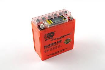 Мото аккумулятор АКБ (Аккумулятор на скутер, мотоцикл, мопед) 12В (V) 5А гелевый (высокий) (119x60x128, оранжевый, с индикатором заряда, вольтметром)