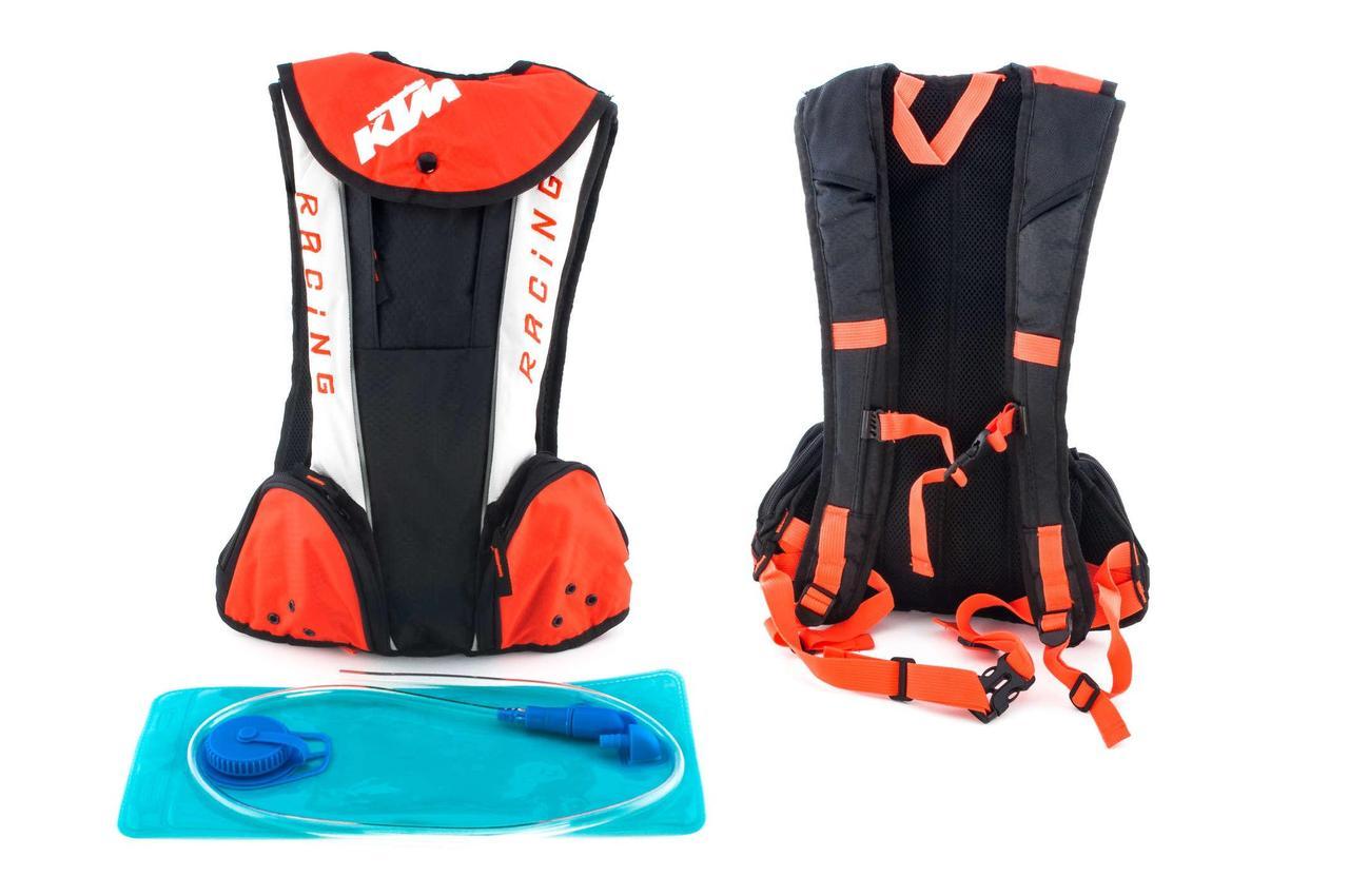 Моторюкзак, мотоциклетный рюкзак (черно-бело-оранжевый, зауженный) KTM