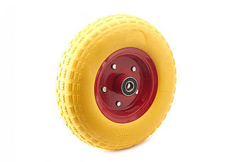 Колесо для тачки садовой 4,00 -6 TL (бескамерное, под ось d-20мм ) (желтое) MRHD