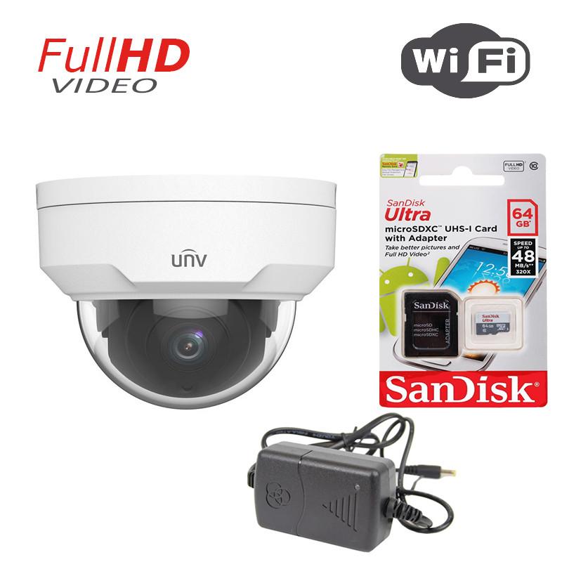 2 Мп купольная IP видеокамера Uniview IPC322SR3-VSF28W-D Wi-Fi+ подарок SD карта 64 Gb