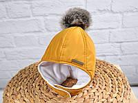 """Зимняя  шапочка с меховымипомпонами""""Аляска"""", цвет горчица. Размеры 36-40, 40-44, 44-48, 48-52"""