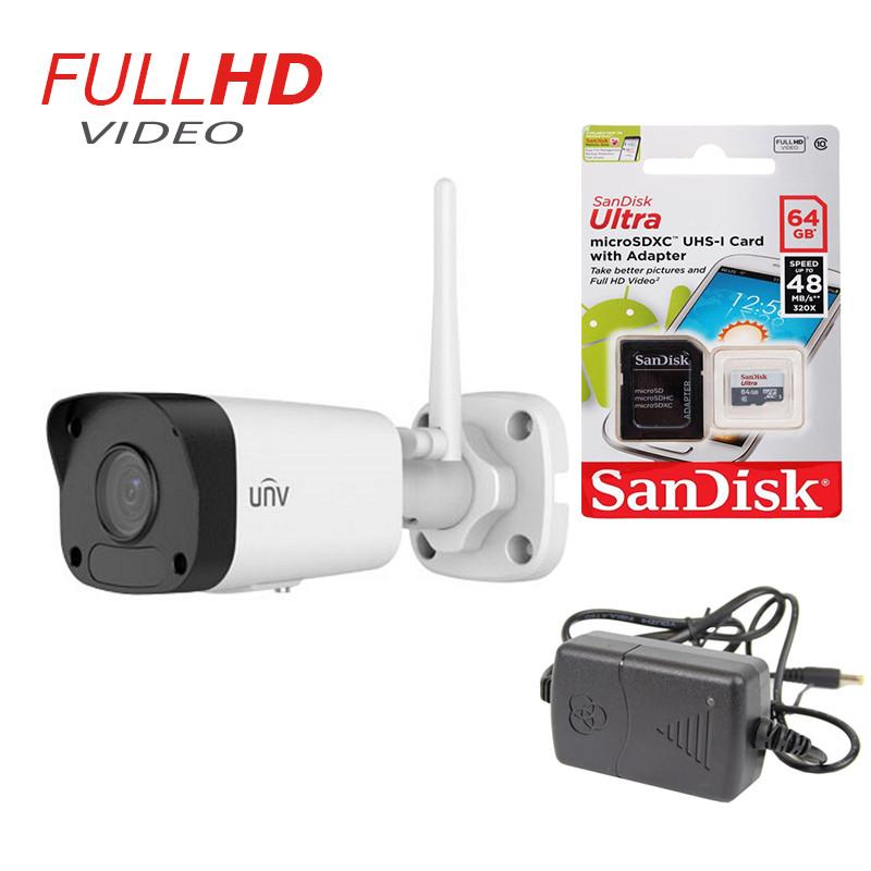 2 Мп уличная IP Камера Uniview IPC2122SR3-F40W-D Wi-Fi+ подарок SD карта 64 Gb