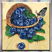 """Картины по номерам, холст на подрамнике - Натюрморт """"Черника в корзине"""" 40*40 см, без коробки"""