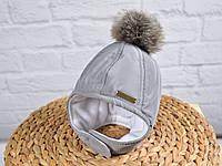 """Зимняя  шапочка с меховымипомпонами""""Аляска"""", цвет серый. Размеры 36-40, 40-44, 44-48, 48-52"""