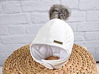 """Зимняя  шапочка с меховымипомпонами""""Аляска"""", цвет молочный. Размеры 36-40, 40-44, 44-48, 48-52"""