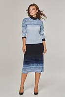 Женское платье-гольф в полоску Lipar Голубое Батал