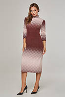 Женское платье-гольф в ромбы Lipar Бордо Батал
