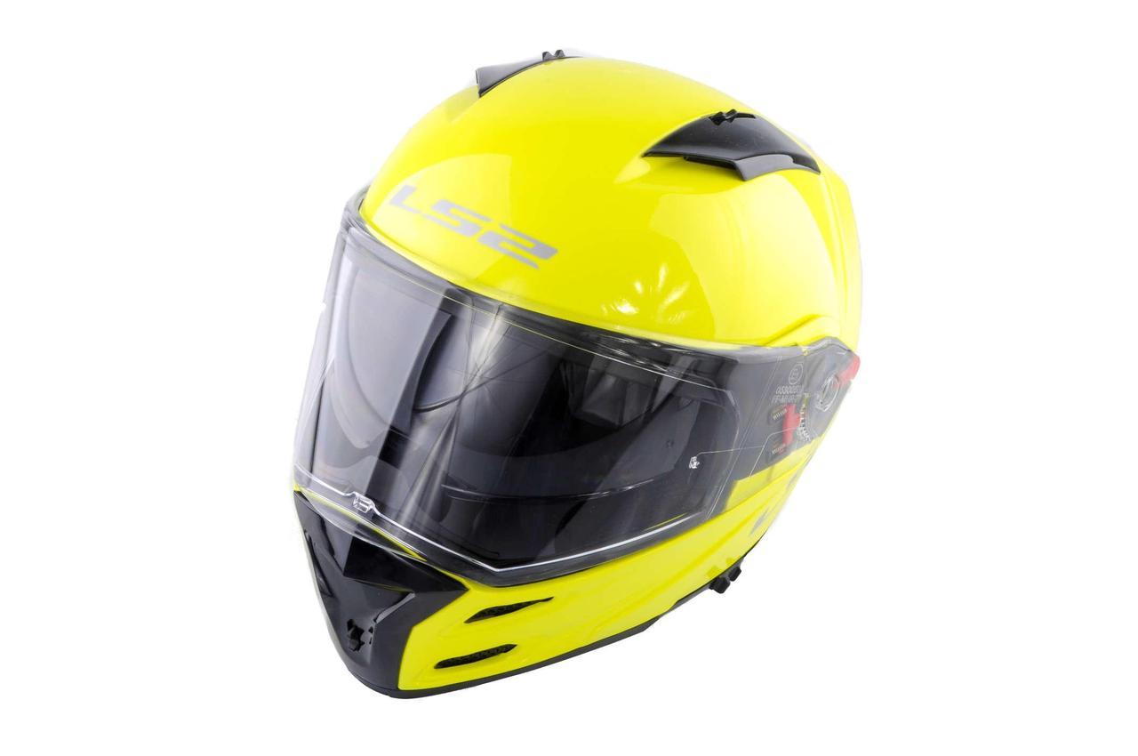 Мотошлем, Мотоциклетный шлем Интеграл (full-face) (mod:FF324) (Размер:ХL, желтый, METRO, Clear 3D Optically