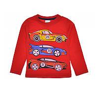 Реглан детский для мальчика с принтом машынки красный