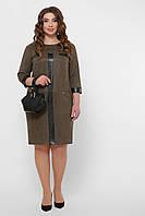 Замшевое платье цвета хаки большого размера Руфина-Б, XL, XXL, XXXL