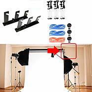 Система крепления 3-х фонов на стойку / потолок Visico VS-B3 (держатель для фотостудии), фото 2