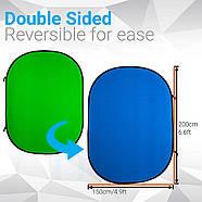 1.5*2м Фон хромакей  на пружине Menik Y-92 сине/зелёный YouTube Chromakey складной, фото 3