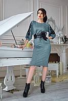 Жіноче люрексне плаття з кружевом та поясом, 3 кольори .Розміри 48-52, фото 1